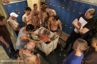 Photo number 7 from Handyman with a big cock gets tied up and used by horny dudes in the locker room. shot for Bound in Public on Kink.com. Featuring Ethan Ayers and Alexander Garrett in hardcore BDSM & Fetish porn.