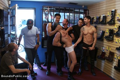 Photo number 1 from Use and humiliate a blond stud at Stompers Boots. shot for Bound in Public on Kink.com. Featuring Josh West and Micah Andrews in hardcore BDSM & Fetish porn.