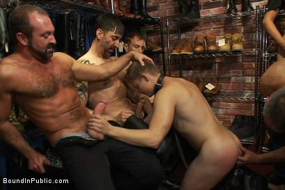 Photo number 10 from Use and humiliate a blond stud at Stompers Boots. shot for Bound in Public on Kink.com. Featuring Josh West and Micah Andrews in hardcore BDSM & Fetish porn.