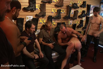 Photo number 4 from Use and humiliate a blond stud at Stompers Boots. shot for Bound in Public on Kink.com. Featuring Josh West and Micah Andrews in hardcore BDSM & Fetish porn.