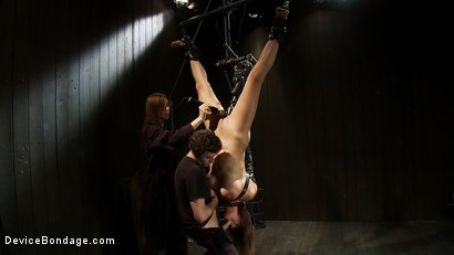 Photo number 8 from Upside down big-titty pain slut gets machine fucked and throat fucked at the same time shot for Device Bondage on Kink.com. Featuring James Deen and Trina Michaels in hardcore BDSM & Fetish porn.