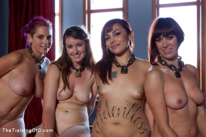 Photo number 15 from Four Girl Auditions-Day 2<br>Keeping Their Eyes on the Prize shot for The Training Of O on Kink.com. Featuring Akira Raine, Sofia Lauryn, Rozen Debowe and Odile in hardcore BDSM & Fetish porn.