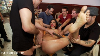 Photo number 9 from Degraded in the Sandwich Shop shot for Public Disgrace on Kink.com. Featuring James Deen, Lyla Storm and Princess Donna Dolore in hardcore BDSM & Fetish porn.