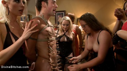 Photo number 5 from The most intense public FemDom pajama party ever! shot for Divine Bitches on Kink.com. Featuring Parker London, Aiden Starr, Dutch Bardoux, Gia DiMarco, DJ, Lorelei Lee and Maitresse Madeline Marlowe in hardcore BDSM & Fetish porn.