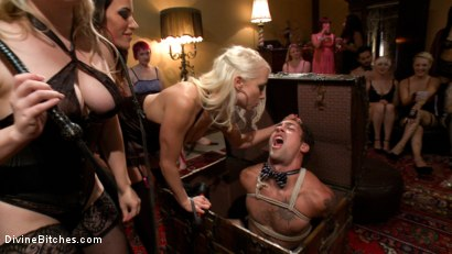 Photo number 3 from The most intense public FemDom pajama party ever! shot for Divine Bitches on Kink.com. Featuring Parker London, Aiden Starr, Dutch Bardoux, Gia DiMarco, DJ, Lorelei Lee and Maitresse Madeline Marlowe in hardcore BDSM & Fetish porn.