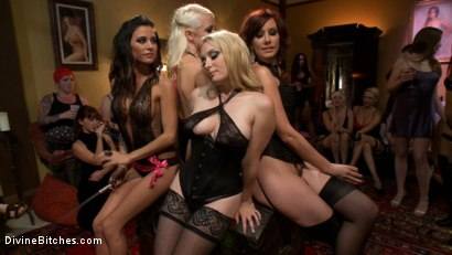 Photo number 2 from The most intense public FemDom pajama party ever! shot for Divine Bitches on Kink.com. Featuring Parker London, Aiden Starr, Dutch Bardoux, Gia DiMarco, DJ, Lorelei Lee and Maitresse Madeline Marlowe in hardcore BDSM & Fetish porn.
