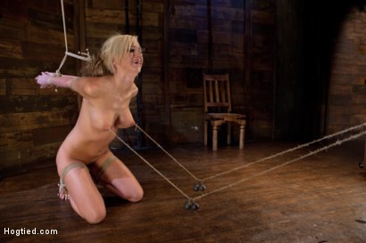 Photo number 12 from Hot blonde with amazing body, has nipples tied and weighted, gagged & made to cum like a common slut shot for Hogtied on Kink.com. Featuring Kaylee Hilton in hardcore BDSM & Fetish porn.