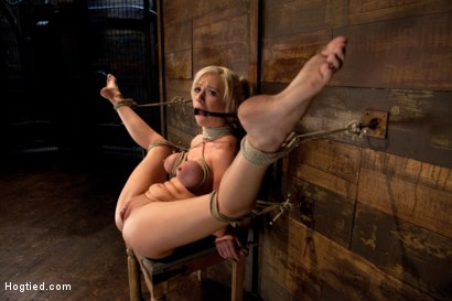 Photo number 2 from Sexy blond with pig tails, braces & big tits<br>Abused made to cum with vibrator & fingers, Helpless shot for Hogtied on Kink.com. Featuring Kaylee Hilton in hardcore BDSM & Fetish porn.