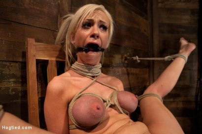 Photo number 4 from Sexy blond with pig tails, braces & big tits<br>Abused made to cum with vibrator & fingers, Helpless shot for Hogtied on Kink.com. Featuring Kaylee Hilton in hardcore BDSM & Fetish porn.