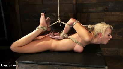 Photo number 15 from Hot blond with big tits, pony tails, and braces.   Face fucked, hogtied & made to cum like a whore. shot for Hogtied on Kink.com. Featuring Kaylee Hilton in hardcore BDSM & Fetish porn.
