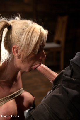 Photo number 4 from Hot blond with big tits, pony tails, and braces.   Face fucked, hogtied & made to cum like a whore. shot for Hogtied on Kink.com. Featuring Kaylee Hilton in hardcore BDSM & Fetish porn.