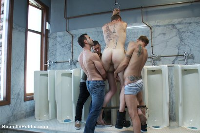 Photo number 10 from Two boys get used and abused in a public restroom. shot for Bound in Public on Kink.com. Featuring Christian Wilde, Mike J and Branden Forrest in hardcore BDSM & Fetish porn.