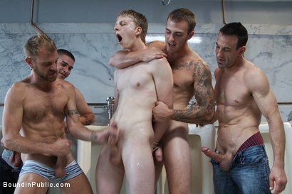 Photo number 5 from Two boys get used and abused in a public restroom. shot for Bound in Public on Kink.com. Featuring Christian Wilde, Mike J and Branden Forrest in hardcore BDSM & Fetish porn.