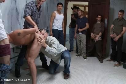 Photo number 4 from Two boys get used and abused in a public restroom. shot for Bound in Public on Kink.com. Featuring Christian Wilde, Mike J and Branden Forrest in hardcore BDSM & Fetish porn.