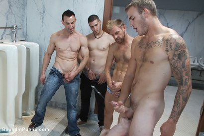 Photo number 14 from Two boys get used and abused in a public restroom. shot for Bound in Public on Kink.com. Featuring Christian Wilde, Mike J and Branden Forrest in hardcore BDSM & Fetish porn.