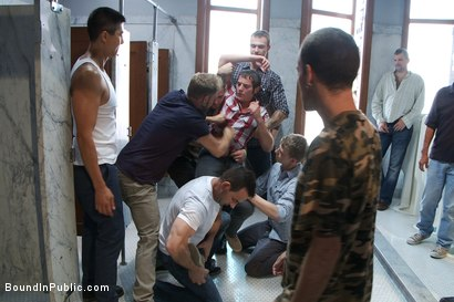 Photo number 1 from Two boys get used and abused in a public restroom. shot for Bound in Public on Kink.com. Featuring Christian Wilde, Mike J and Branden Forrest in hardcore BDSM & Fetish porn.