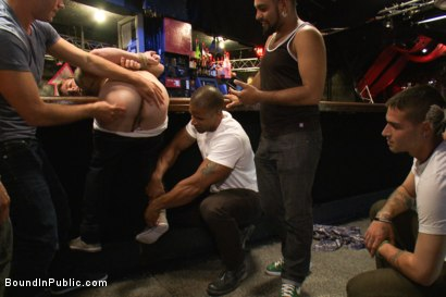 Photo number 2 from Sebastian Keys gets his ass stretched and pissed on in a public bar. shot for Bound in Public on Kink.com. Featuring Sebastian Keys and Robert Axel in hardcore BDSM & Fetish porn.