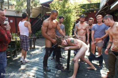 Photo number 5 from Sebastian Keys gets his ass stretched and pissed on in a public bar. shot for Bound in Public on Kink.com. Featuring Sebastian Keys and Robert Axel in hardcore BDSM & Fetish porn.