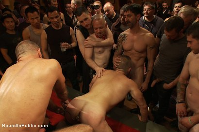 Photo number 4 from Live Shoot: Dirk Caber and 200 horny men at Folsom weekend party. shot for Bound in Public on Kink.com. Featuring Josh West and Dirk Caber in hardcore BDSM & Fetish porn.