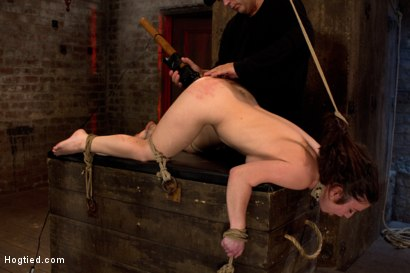 Photo number 14 from Girl next door bound ass up. Double penetrated<br>Skull fucked & caned, vibrated 2 multiple orgasms  shot for Hogtied on Kink.com. Featuring Serena Blair in hardcore BDSM & Fetish porn.