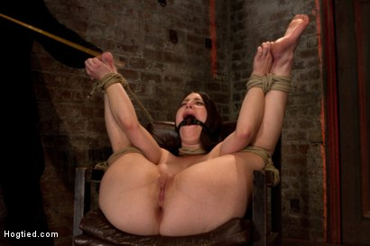 Photo number 6 from Tiny 5'0 100lb girl in the ultimate fuck me position. Orgasm overload to the max! Massive squirting. shot for Hogtied on Kink.com. Featuring Serena Blair in hardcore BDSM & Fetish porn.