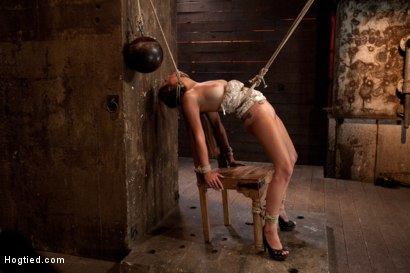 Photo number 14 from 19yr brat learns not to fuck w/The Williams<br>ends up struggling to breathe; cumming like a whore. shot for Hogtied on Kink.com. Featuring Mae Meyers in hardcore BDSM & Fetish porn.