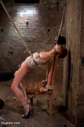 Photo number 3 from 19yr brat learns not to fuck w/The Williams<br>ends up struggling to breathe; cumming like a whore. shot for Hogtied on Kink.com. Featuring Mae Meyers in hardcore BDSM & Fetish porn.
