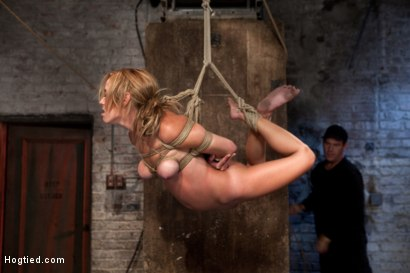 Photo number 10 from Bratty 19yr old bound on her knees and made to suck cock. Suffers her first suspension, made to cum! shot for Hogtied on Kink.com. Featuring Mae Meyers in hardcore BDSM & Fetish porn.