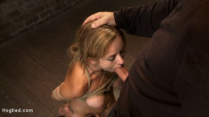 Bratty 19yr old bound on her knees and made to suck cock. Suffers her first suspension, made to cum!