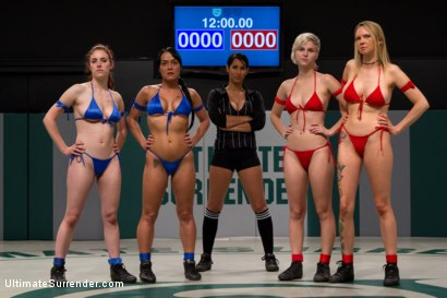 Photo number 5 from RD 1: Team Blue VS. Team Red!  Brutal unscripted tag team wrestling! Sexual wrestling at it's best shot for Ultimate Surrender on Kink.com. Featuring Iona Grace, Isis Love, Mahina Zaltana, Rain DeGrey and Chloe Camilla in hardcore BDSM & Fetish porn.