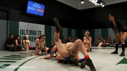 Photo number 3 from Round 3 of the August Live Tag Team<br>Brutal submissions, Crushing leg scissors.  shot for Ultimate Surrender on Kink.com. Featuring Iona Grace, Isis Love, Mahina Zaltana, Rain DeGrey and Chloe Camilla in hardcore BDSM & Fetish porn.