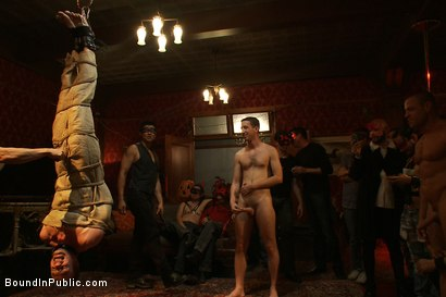 Photo number 6 from Halloween Masquerade Party shot for Bound in Public on Kink.com. Featuring Blake Daniels and Tyler Saint in hardcore BDSM & Fetish porn.