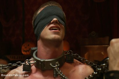 Photo number 7 from Halloween Masquerade Party shot for Bound in Public on Kink.com. Featuring Blake Daniels and Tyler Saint in hardcore BDSM & Fetish porn.