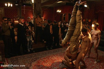 Photo number 8 from Halloween Masquerade Party shot for Bound in Public on Kink.com. Featuring Blake Daniels and Tyler Saint in hardcore BDSM & Fetish porn.