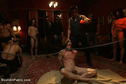 Photo number 3 from Halloween Masquerade Party shot for Bound in Public on Kink.com. Featuring Blake Daniels and Tyler Saint in hardcore BDSM & Fetish porn.