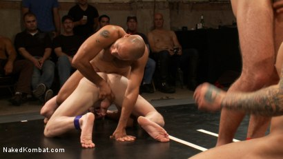 Photo number 14 from Intense Live Tag-Team Match! shot for Naked Kombat on Kink.com. Featuring Parker London, Brenn Wyson, Leo Forte, DJ and Blake Daniels in hardcore BDSM & Fetish porn.