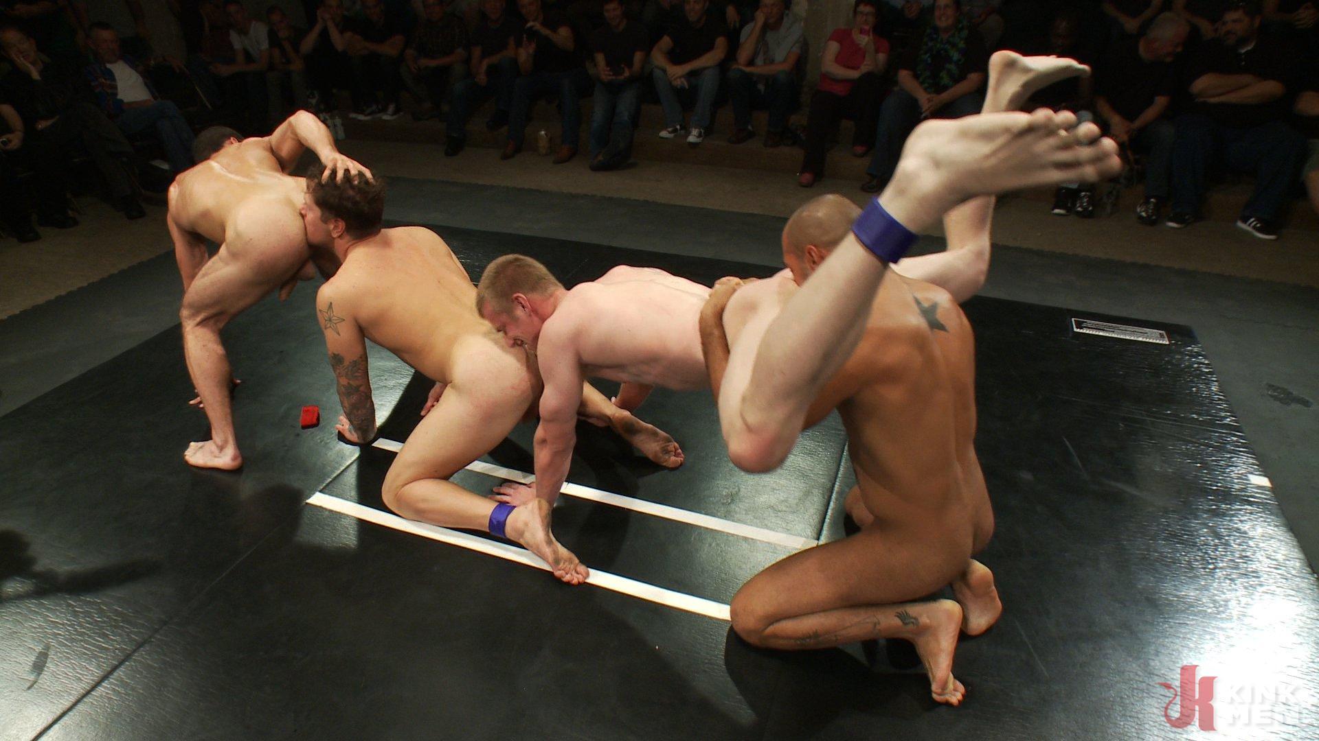 Photo number 15 from Intense Live Tag-Team Match! shot for Naked Kombat on Kink.com. Featuring Parker London, Brenn Wyson, Leo Forte, DJ and Blake Daniels in hardcore BDSM & Fetish porn.