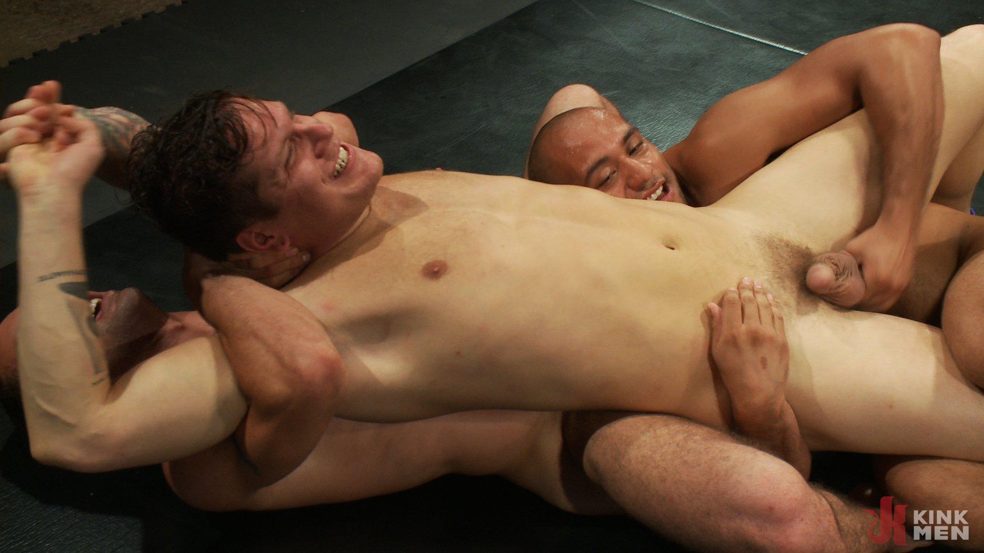 Photo number 9 from Intense Live Tag-Team Match! shot for Naked Kombat on Kink.com. Featuring Parker London, Brenn Wyson, Leo Forte, DJ and Blake Daniels in hardcore BDSM & Fetish porn.