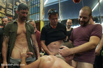 Photo number 2 from Studly shoplifter gets an eggplant up his ass and a face full of cum a shot for boundinpublic on Kink.com. Featuring Jacob Durham and Christian Wilde in hardcore BDSM & Fetish porn.