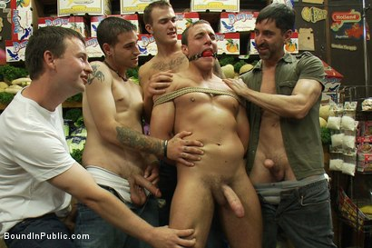 Photo number 1 from Studly shoplifter gets an eggplant up his ass and a face full of cum a shot for boundinpublic on Kink.com. Featuring Jacob Durham and Christian Wilde in hardcore BDSM & Fetish porn.