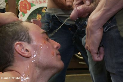 Photo number 14 from Studly shoplifter gets an eggplant up his ass and a face full of cum a shot for boundinpublic on Kink.com. Featuring Jacob Durham and Christian Wilde in hardcore BDSM & Fetish porn.
