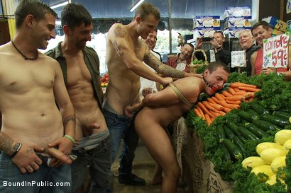 Photo number 10 from Studly shoplifter gets an eggplant up his ass and a face full of cum a shot for Bound in Public on Kink.com. Featuring Jacob Durham and Christian Wilde in hardcore BDSM & Fetish porn.