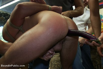 Photo number 4 from Studly shoplifter gets an eggplant up his ass and a face full of cum a shot for Bound in Public on Kink.com. Featuring Jacob Durham and Christian Wilde in hardcore BDSM & Fetish porn.