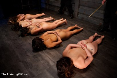 Photo number 2 from Five Girl Intake<br>The Elimination Begins shot for The Training Of O on Kink.com. Featuring Juliette March, Eden Coxxx, Alexxa Bound, Maxine Holloway and Dana Vixen in hardcore BDSM & Fetish porn.