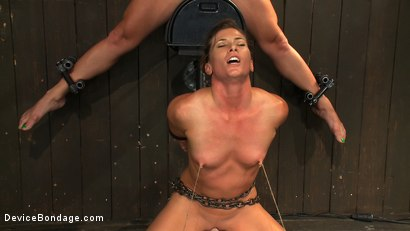Photo number 12 from Nipple brutality on the sybian until sweaty and wrecked  shot for Device Bondage on Kink.com. Featuring Dia Zerva and Ariel X in hardcore BDSM & Fetish porn.