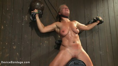 Photo number 13 from Nipple brutality on the sybian until sweaty and wrecked  shot for Device Bondage on Kink.com. Featuring Dia Zerva and Ariel X in hardcore BDSM & Fetish porn.
