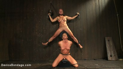 Photo number 14 from Nipple brutality on the sybian until sweaty and wrecked  shot for Device Bondage on Kink.com. Featuring Dia Zerva and Ariel X in hardcore BDSM & Fetish porn.