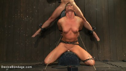 Photo number 3 from Nipple brutality on the sybian until sweaty and wrecked  shot for Device Bondage on Kink.com. Featuring Dia Zerva and Ariel X in hardcore BDSM & Fetish porn.