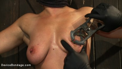 Photo number 6 from Nipple brutality on the sybian until sweaty and wrecked  shot for Device Bondage on Kink.com. Featuring Dia Zerva and Ariel X in hardcore BDSM & Fetish porn.