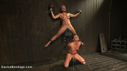 Photo number 8 from Nipple brutality on the sybian until sweaty and wrecked  shot for Device Bondage on Kink.com. Featuring Dia Zerva and Ariel X in hardcore BDSM & Fetish porn.